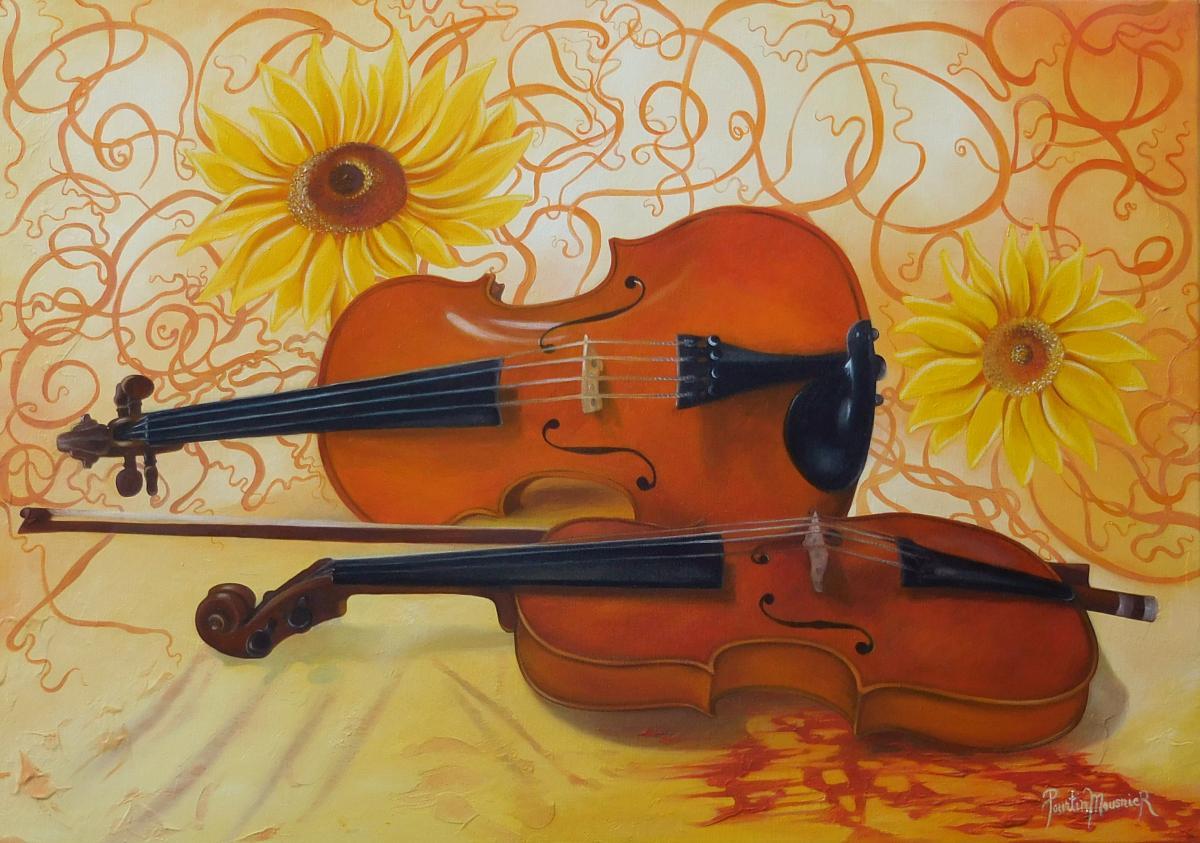 Violons et fleurs jaunes (46X65)