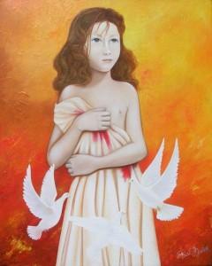 Petite fille aux colombes (40X50)