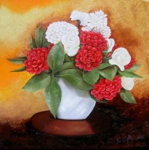 Bouquet rouge et or (30X30)