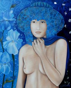 Derrière le foulard bleu (45X55)