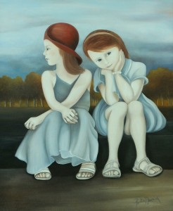 Les deux fillettes ( 46X38)