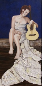 Jeune fille à la guitare (50X100)