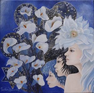 Version peinture Dessin téléphonique n° 8 ou l'art de voir la petite fleur